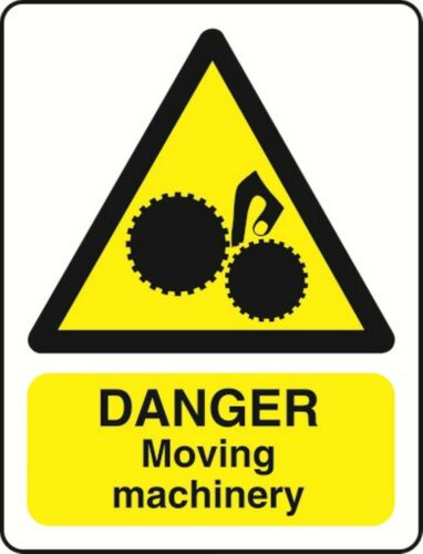 DANGER MOVING MACHINERY HEALTH AND SAFETY WARNING STICKER LATEX PRINTED WARN199