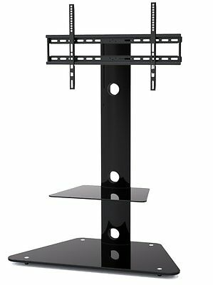 Cantilever Glass TV Stand with Bracket 2 Shelves for 32-52 inches Plasma LCD TV