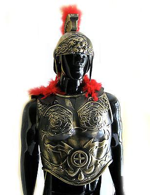 Roman Greek Soldier Army Helmet Chest Armor Black Cape Adult Halloween Costume