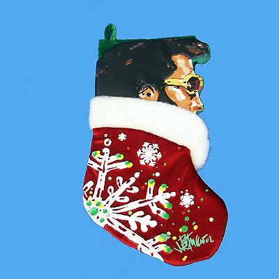 Elvis Presley With Snowflake Applique Red Christmas Stocking