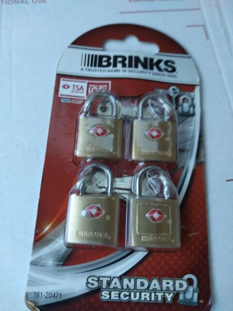 Brinks 161-20471 TSA Approved 22mm Luggage Lock Solid Brass 4-Pack