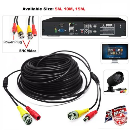 5-30M Pre-Made CABLE CCTV CAMERA BNC VIDEO AND DC Camera To DVR Connector UK