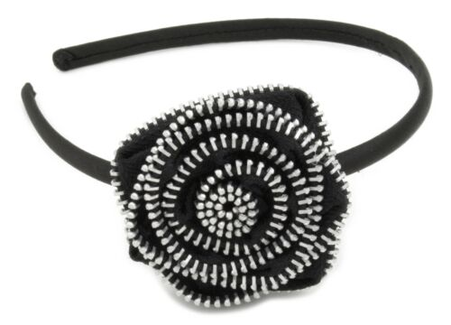 Zest Alice Band with Zip Detail Flower Hair Accessory Black /& Silver