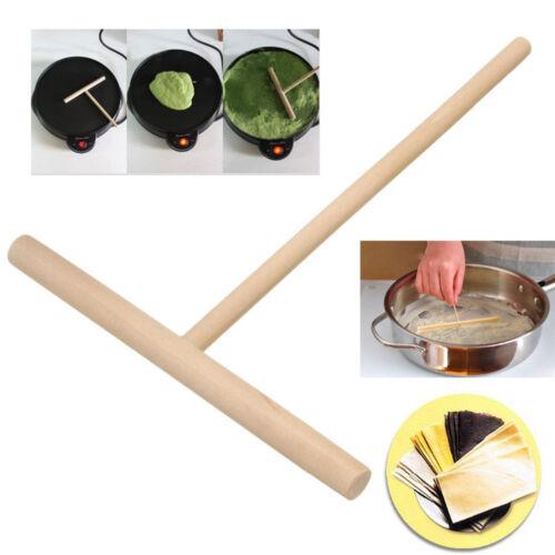 2X Wooden Rake Round Batter Pancake Crepe Spreaders Kitchen Tools DIY 15cHFUS