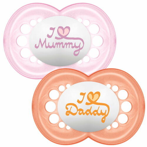 MAM 6-12 Monate rosa+blau Nuckel 2 Schnuller I Love Daddy I Love Mummy 0-6
