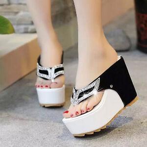 Women-039-s-Slipper-Shoes-Flip-Flop-Thong-Rhinestones-Wedge-Platform-Heel-Sandal