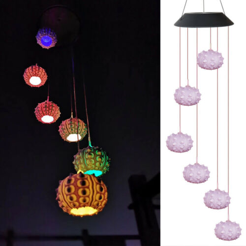Color-Changing LED Solar Powered Wind Chime Light Lamp Yard Garden Hanging Decor
