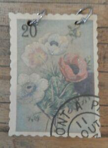 Vintage-style-note-pad-pocket-notebook-Flower-stamp-design-UK-SELLER