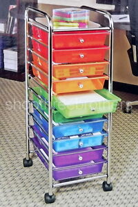 New 10 multi color drawer metal rolling cart scrapbook for Rolling craft cart with drawers