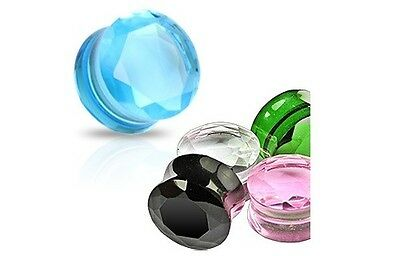 PAIR of Solid Pyrex Glass Gem-Cut SADDLE EAR PLUGS TUNNELS Body Piercing Jewelry