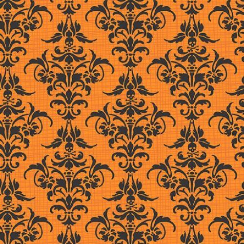 Cuarto gordo chillingsworth Halloween Damasco Calavera Naranja Colchas de retazos de tela makower