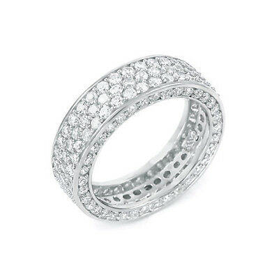 3 CT .925 STERLING SILVER 7MM WIDE 3 ROW ETERNITY RING SIZE 4 5 6 7 8 9 10 11