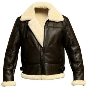 fb69e37412e Men s B3 Aviator Bomber Shearling Sheepskin Leather Winter Jacket