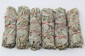 """6 x White Sage Smudge Stick / Wands: 4 to 5 """" House Cleansing Negativity Removal 744110146981"""