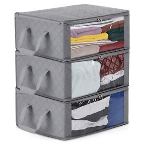 Image Is Loading 3x Foldable Storage Bag Clothes Blanket Quilt Closet