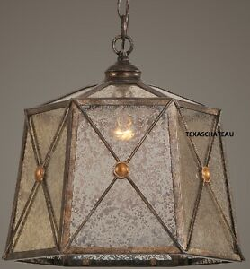 Aged French Country Tuscan Bronze Pendant Light Fixture