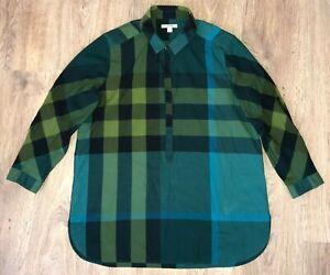 Burberry-Brit-ladies-womens-rare-green-big-nova-check-shirt-blouse-size-M