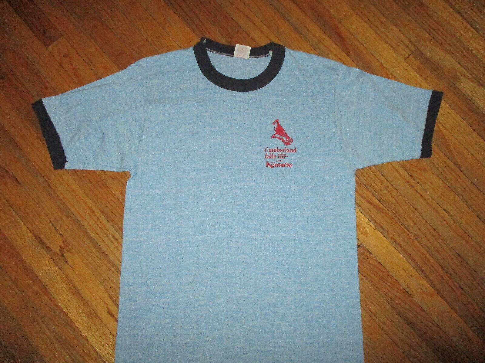 Vtg 70s 80s Cumberland Fällt Zustand Park T-Shirt Corbin Ky Ringer Viskose