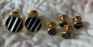 GOLD-TONE-CUFF-LINKS-amp-4-STUDS-BLACK-ONYX-amp-MOTHER-OF-PEARL-MOP