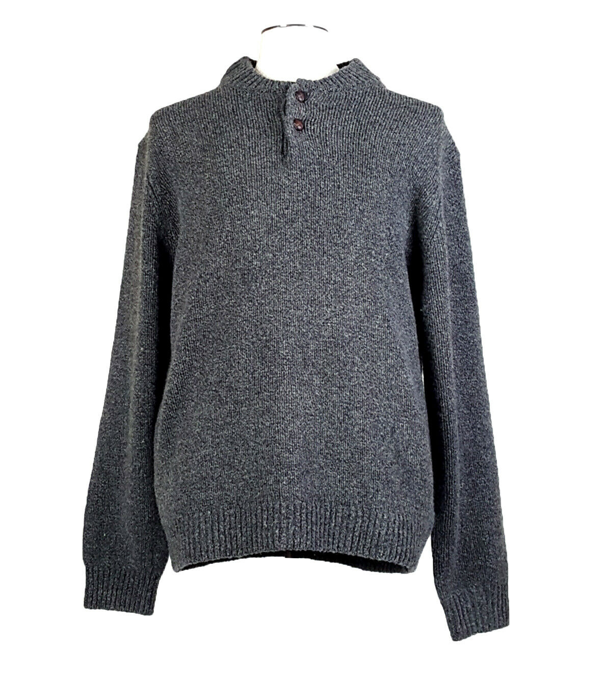LL BEAN XL Wool Leather Button Sweater Gray - image 1