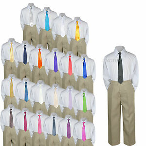 Baby Toddler Kid Boys Wedding Formal 3pc Set Shirt Khaki Pants Necktie Suit S-7