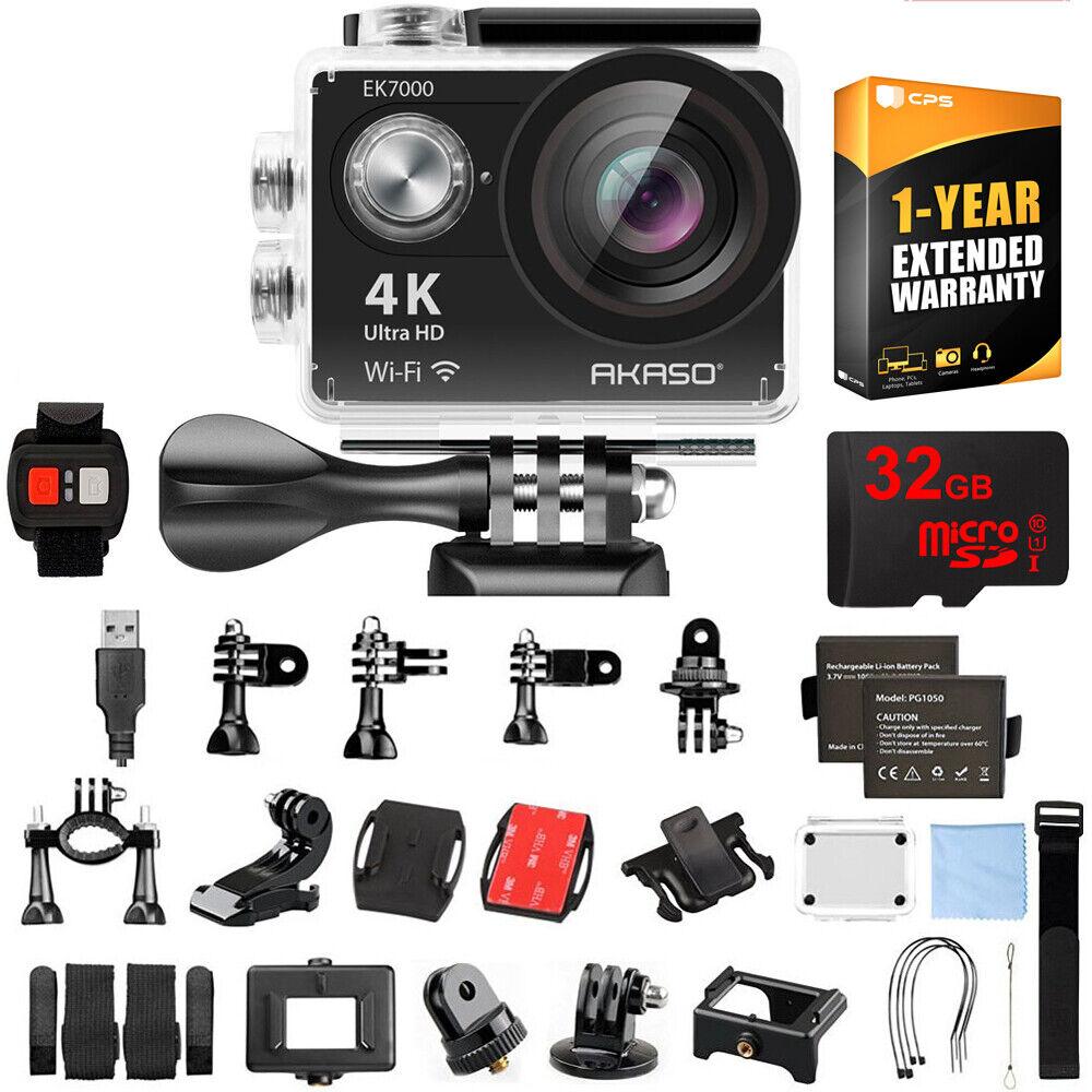 Akaso EK7000 UHD 4k Wide Waterproof Sports Action Camera Black w/ 32GB+Warranty action akaso black camera ek7000 sports uhd waterproof wide