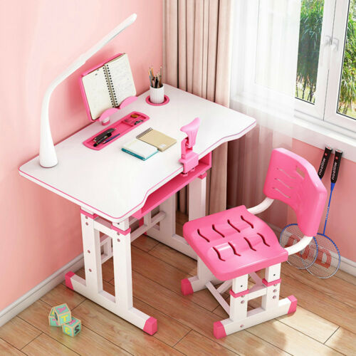 Kids Study Desk Chair Set Height Adjustable Children Student Table Drawer Lamp