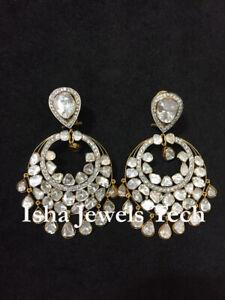 Natural Rose Cut Diamond & Diamond Polki 925 Sterling Silver Earrings Jewelry