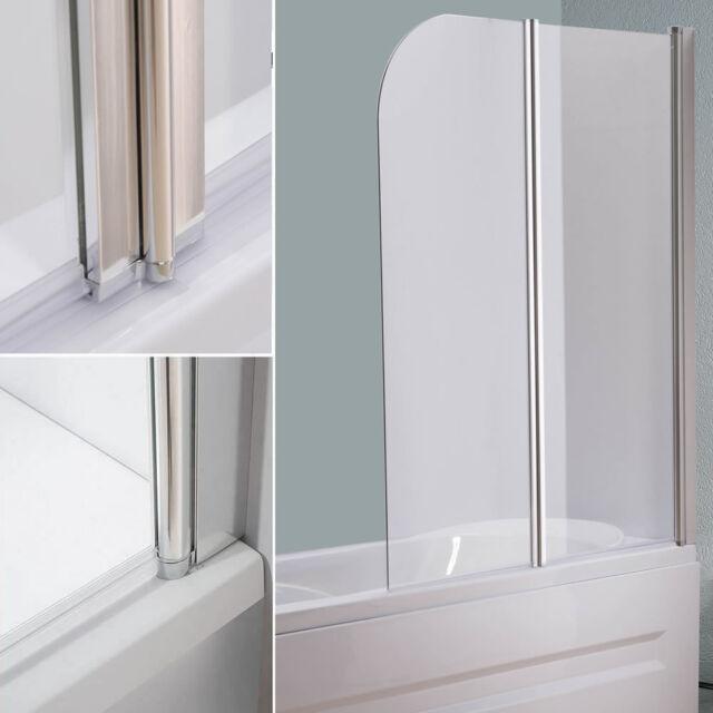 Glas Duschabtrennung.Melko 133cm Glas Duschabtrennung Duschwand Badewannenaufsatz Faltwand Klar