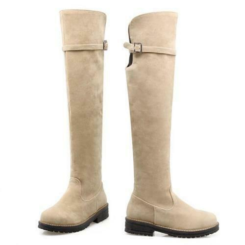 Details about  /US Women/'s Thigh High Boots Ladies Over The Knee Low Heel Zip Up Flats Shoes D