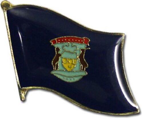 State of Michigan MI Flag Bike Motorcycle Hat Cap lapel Pin