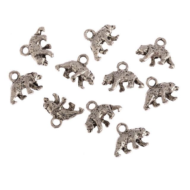 Bear wild animal Tibetan Silver Bead charms alloy Pendants fit bracelet 10pcs