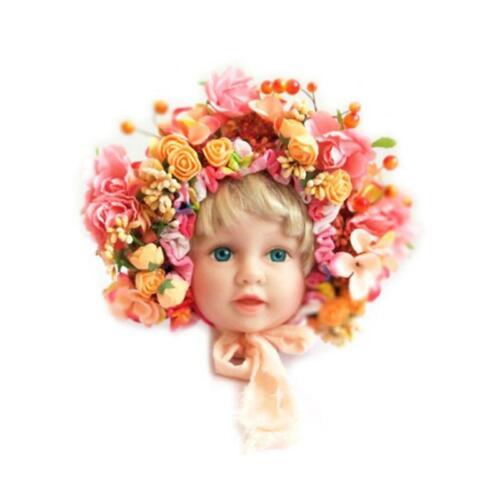 Flowers Florals Hat Newborn Baby Photography Props Handmade Colorful Bonnet Hat