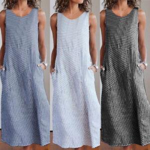 Damen-Lose-Leinen-Gestreift-Armellos-Freizeitkleid-Sommerkleid-Maxi-Strandkleid
