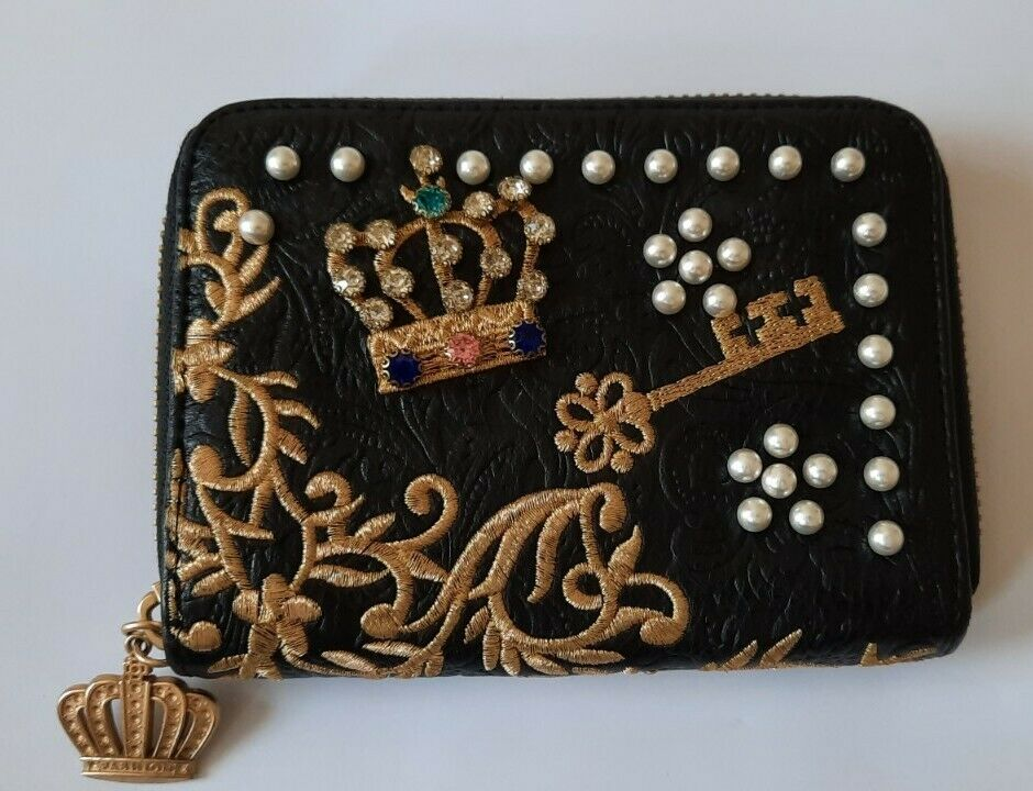 Black Embroidered beaded Purse, new