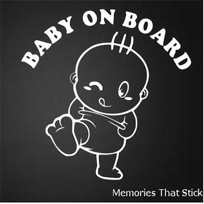 BABY ON BOARD Funny Car Window JDM VW VAUXHALL Novelty Vinyl Decal Sticker v2