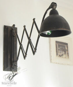 Wandlampe industrielampe wandleuchte scherenarm shabby vintage retro factory neu ebay - Wandlampe vintage retro ...
