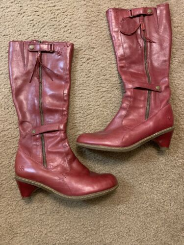 Rare Maroon Leather Knee High Dr. Martens Boots US