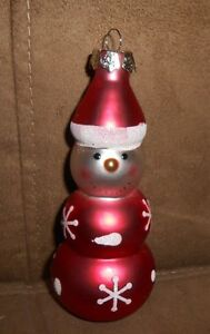 Red-White-Snowman-Glass-Holiday-Christmas-Ornament-Very-Nice