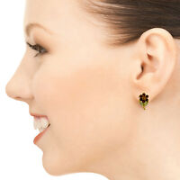 Genuine Garnet, Citrine & Peridot Gems Flower Leverback Studs 14K Gold Earrings