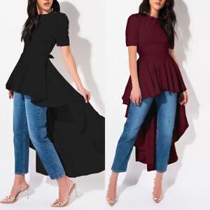 ZANZEA-Women-Summer-Peplum-A-Line-High-Low-Long-Top-Tee-T-Shirt-Party-Blouse-HOT