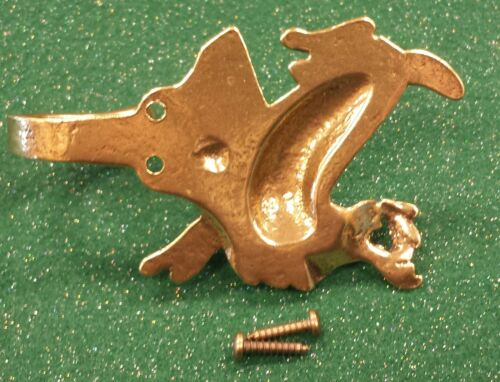 SOLID BRASS COAT HOOK DEER Stag  figure with brass screws 1EB