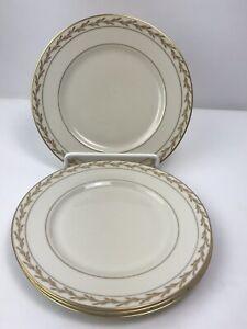 Franciscan-China-Vintage-Beverly-Salad-Plates-8-1-4-034-Set-of-4-Gold-Leaf