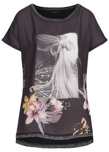 b15100376 Damen Only T-Shirt weiter Schnitt Chiffoneinsatz Blumenmuster schwarz