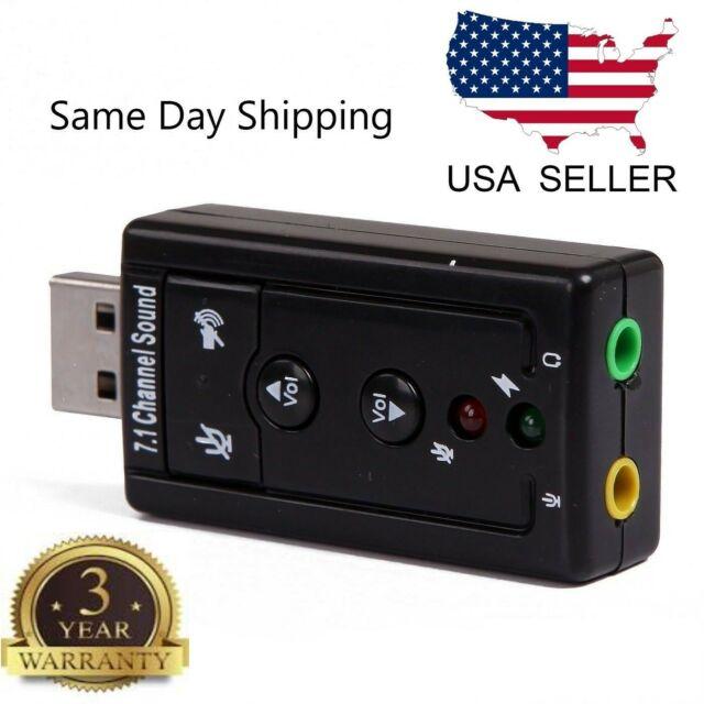 7 1 Channel USB Sound Card 3d Virtual Audio Adapter External Laptop Device  PC