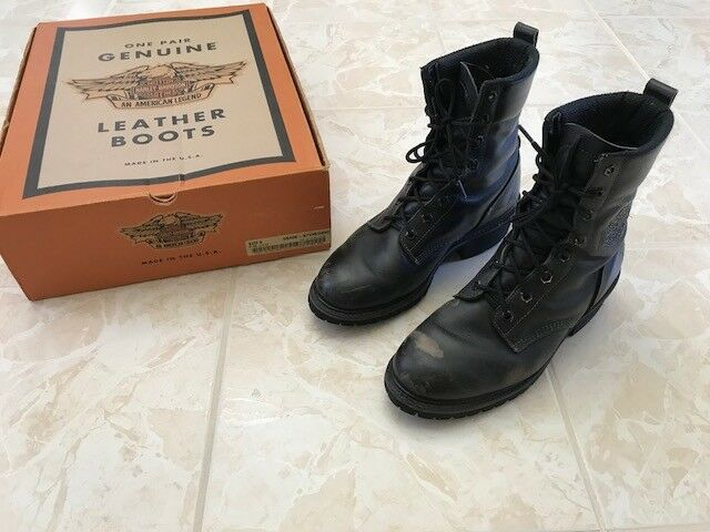 Harley Davidson vintage men's riding boots, glacier, black 9D
