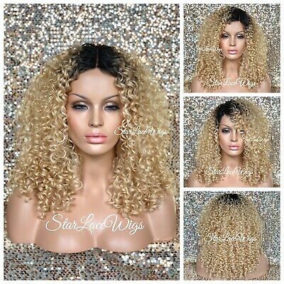 Curly Blonde Wig Dark Roots Shoulder Length Wigs For Women Honey Blonde Ebay