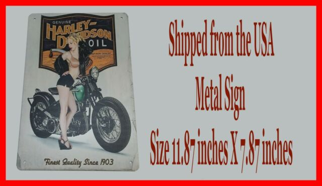 Harley Davidson Motorcycle Oil Man Cave DECOR Metal Tin SIGN Pinup Girl GARAGE