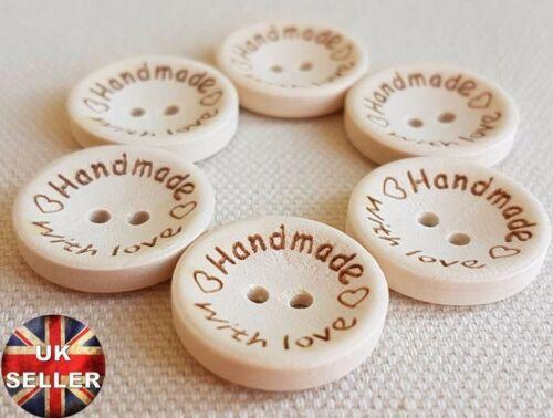 Luxe en bois fait main avec amour boutons-petit 15mm grand 25mm moyenne 20mm