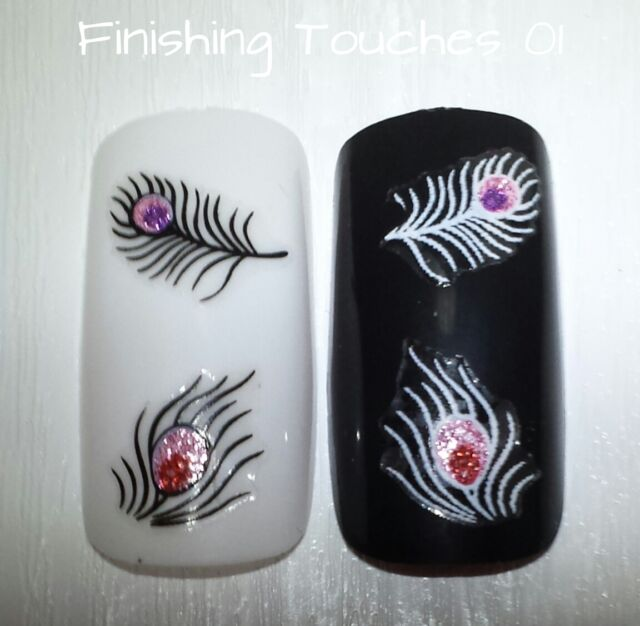 Feather Nail Sticker- Black White #149 BLE1022D Transfer Glitter Rhinestone